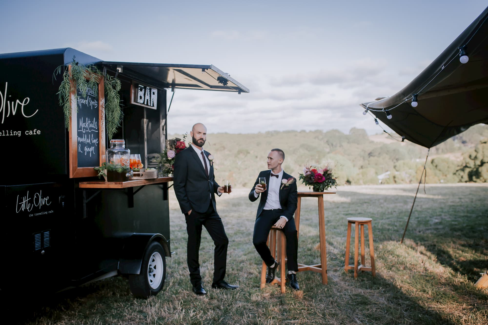 Couple drinks at a mobile bar