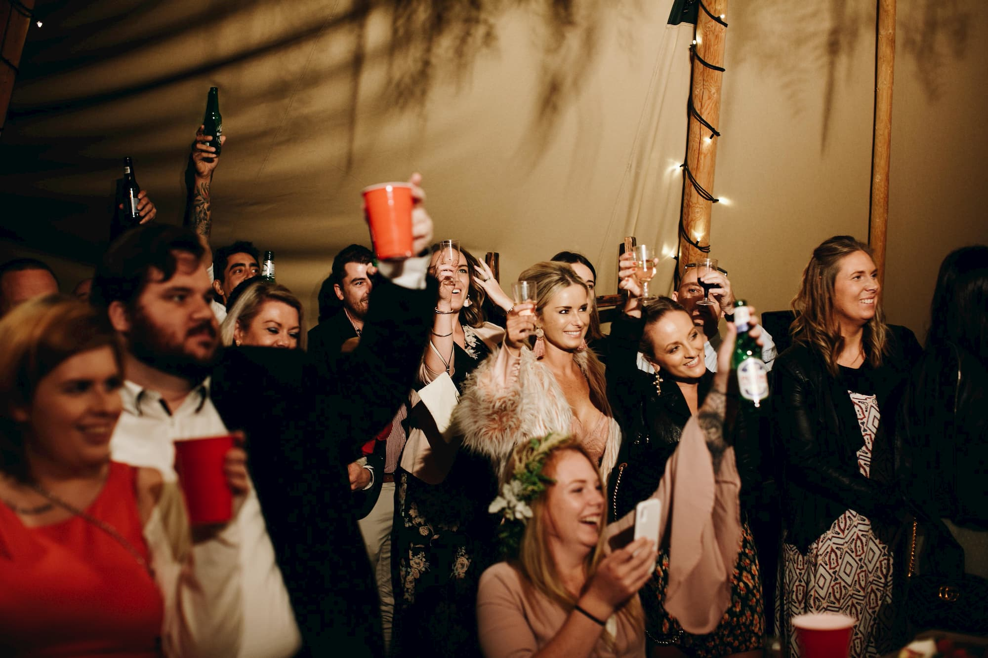 raising a glass at a party