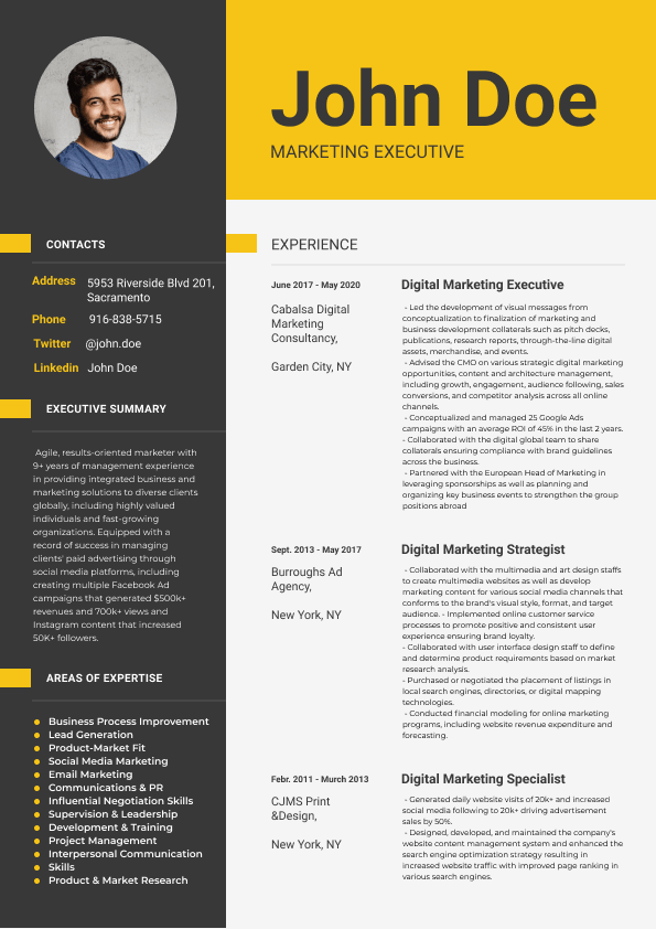 The best example of a resume