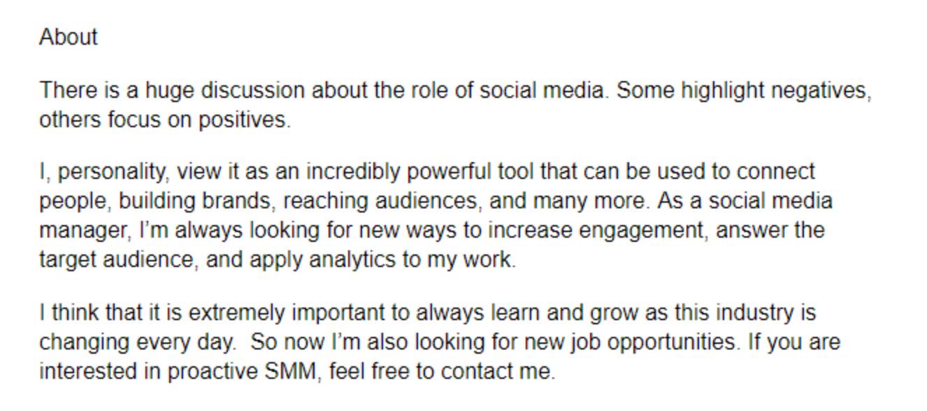 Best linkedin summary example for job seekers