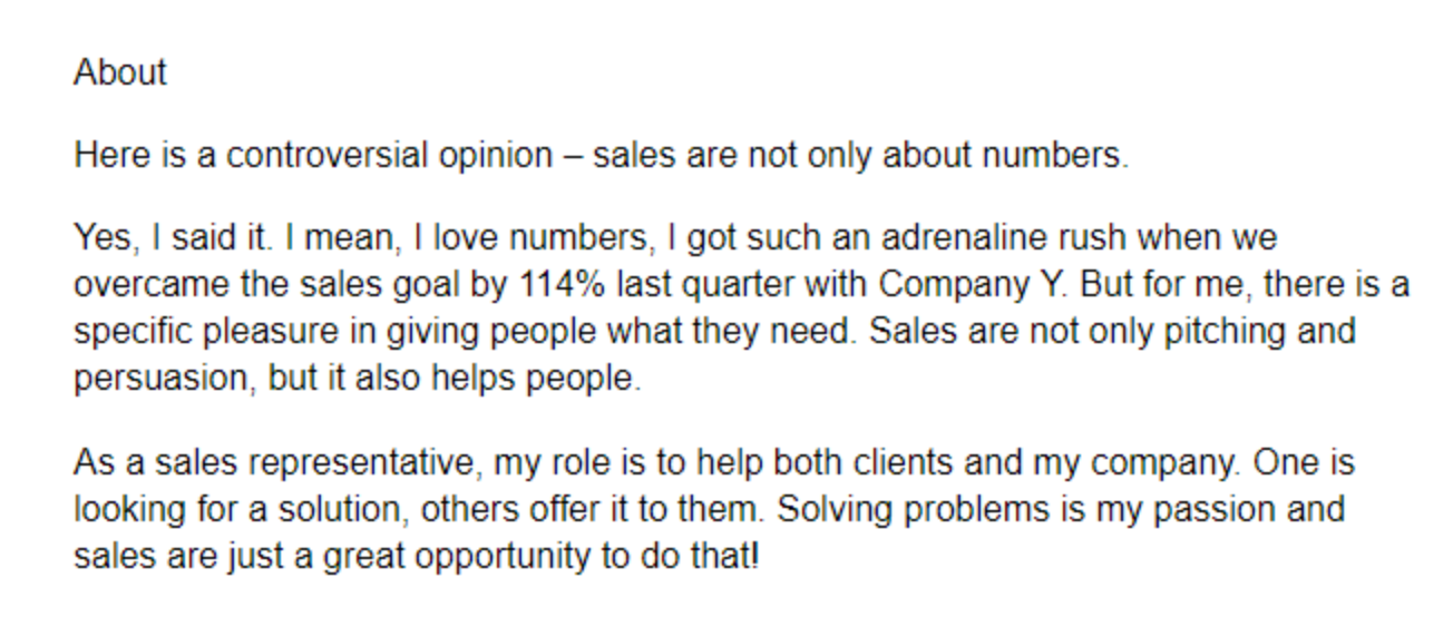 LinkedIn summary examples for sales