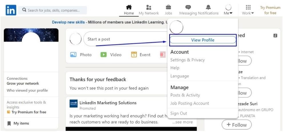 how to share a linkedin profile