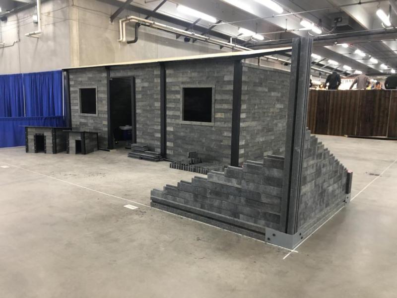 Reblocks build in background with a partially built Reblocks wall