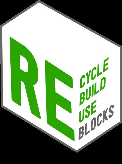3D Logo of reblocks stating, Recycle, Rebuild, Reuse, Reblocks