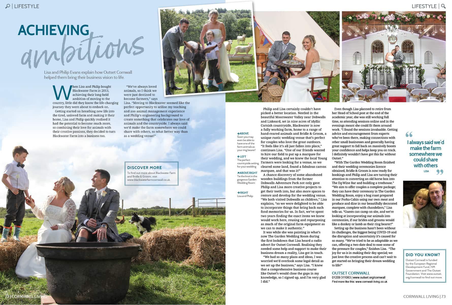 cornwall living article about blackwater farmin cornwall as a wedding venue