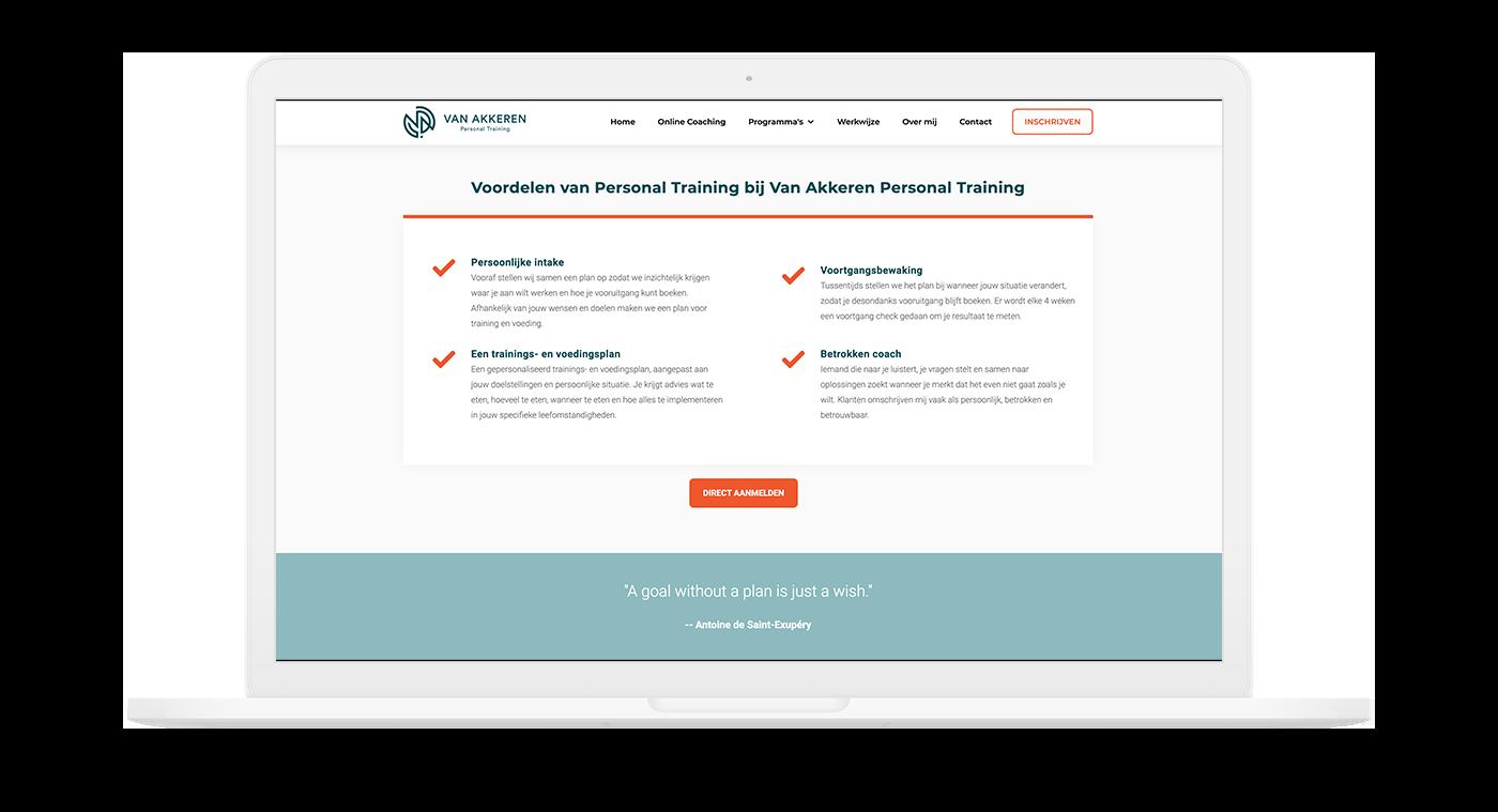 Unieke website voor Van Akkeren Personal Training in Heemskerk
