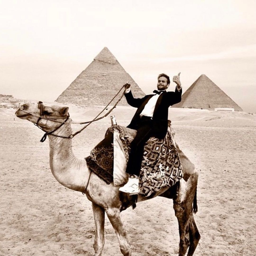 This is a photo of GG on a Camel.