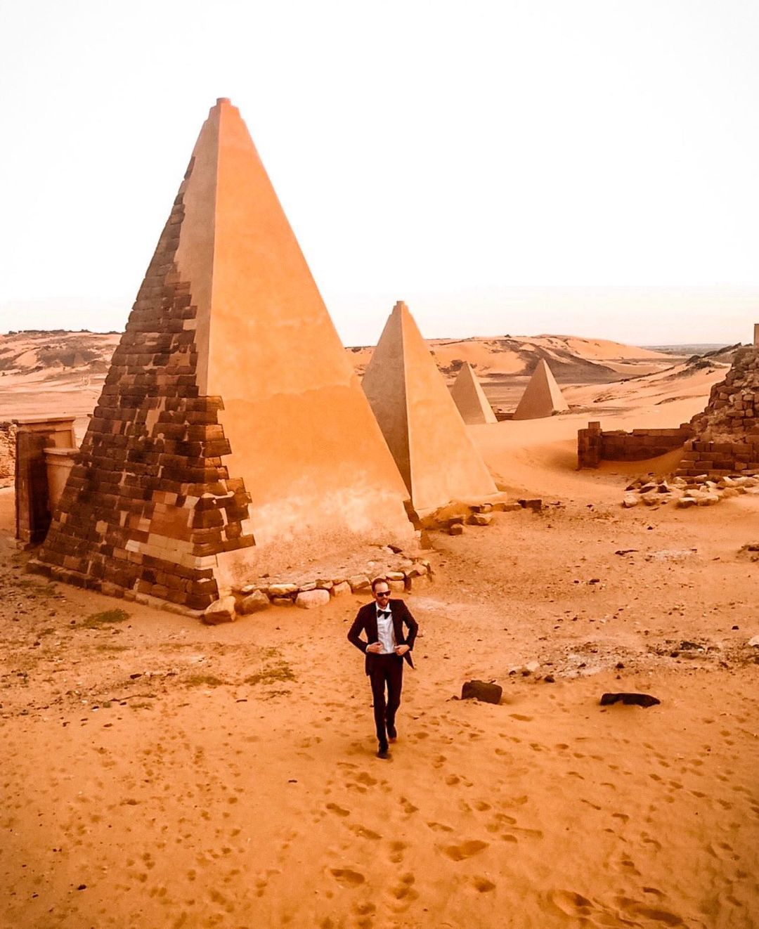 This is a photo of GG around pyramids.
