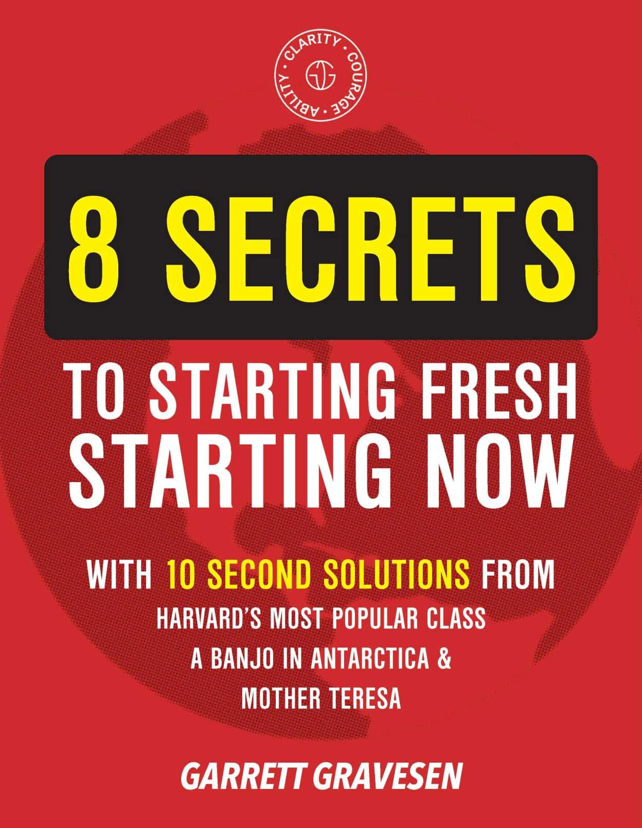 "PDF Cover reading ""8 Secret to Starting Fresh Starting Now"""