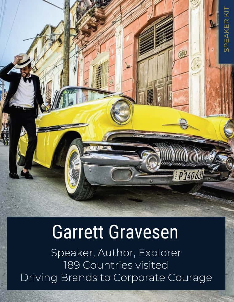 Cover of the speaker kit showing Garrett Gravesen in Havana, Cuba.