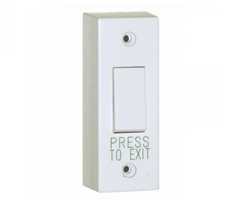 AEB8 Narrow White Plastic Exit Button Switch with Surface Box