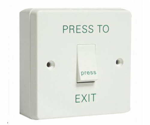 AEB1NR White Plastic Exit Button Switch with Surface Box