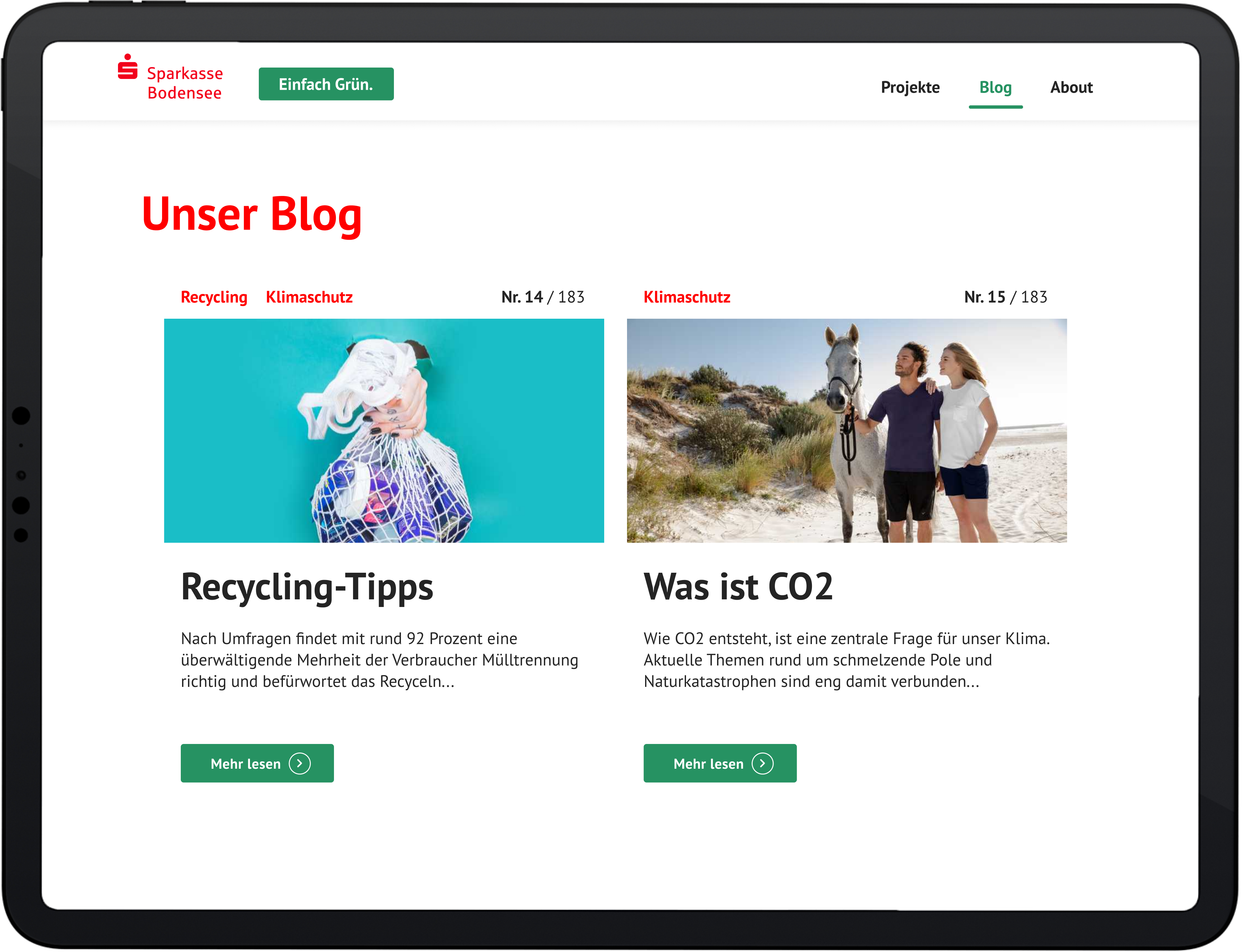 Sparkasse Bodensee Nachhaltigkeitsplattform - Mockup Nachhaltigkeitsblog