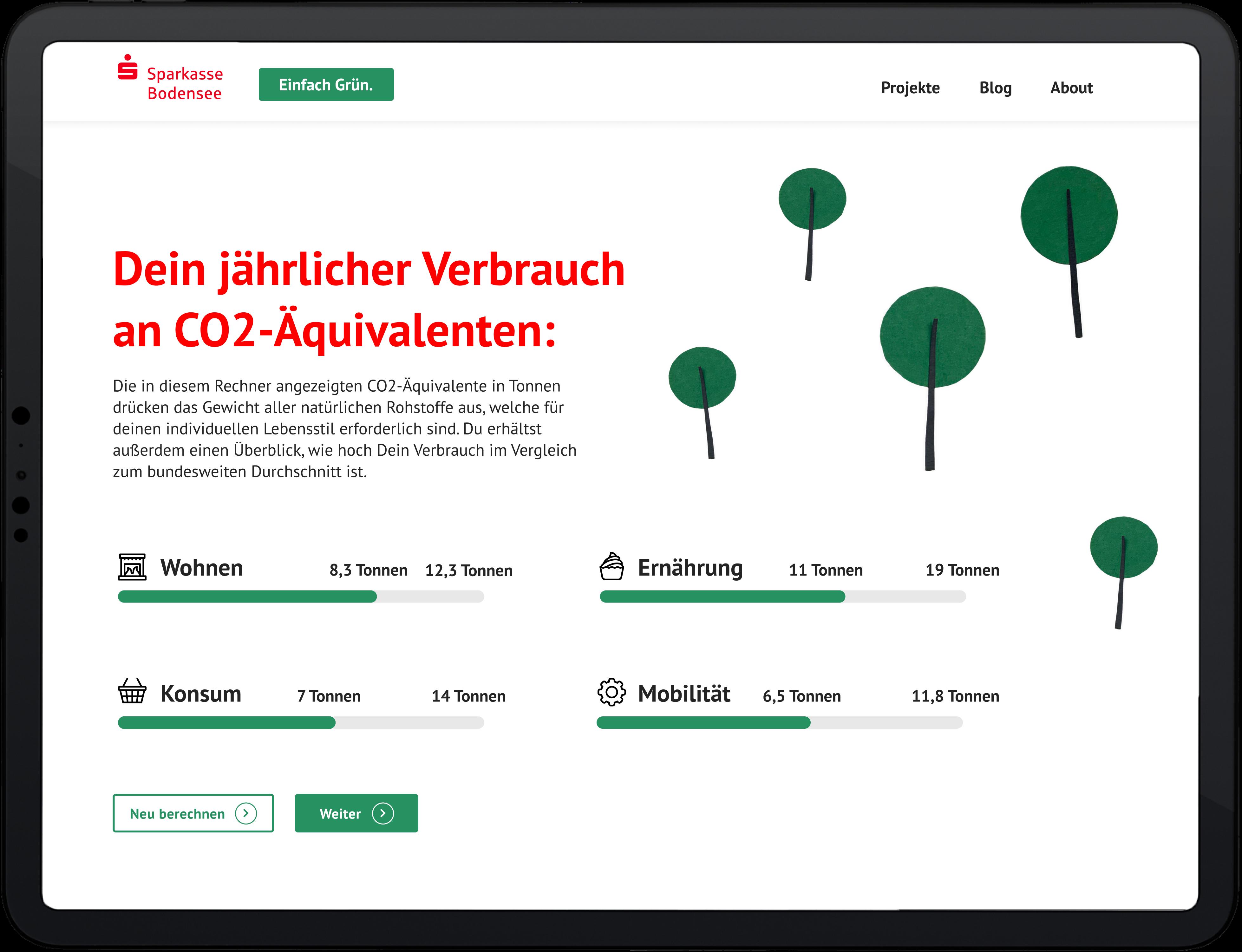 Nachhaltigkeitsplattform Sparkasse Bodensee - Mockup CO2 Rechner