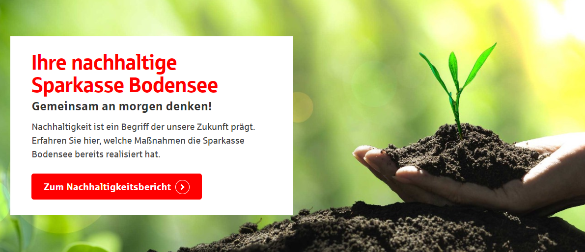 Sparkasse Bodensee - Naturbild und Nachhaltigkeitsslogan