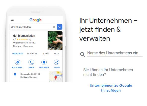 Google My Business - Schritt 1