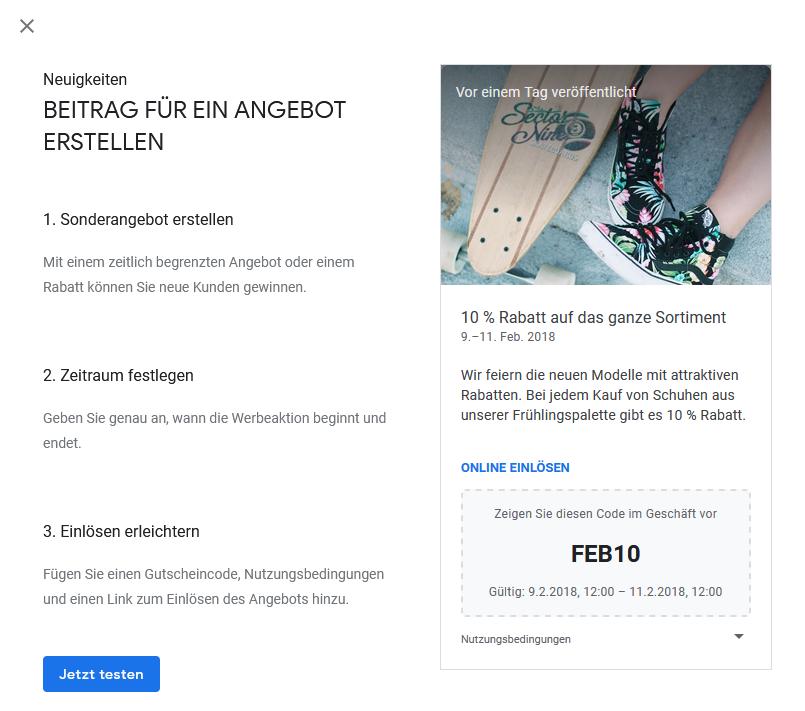 Google My Business - Angebote erstellen