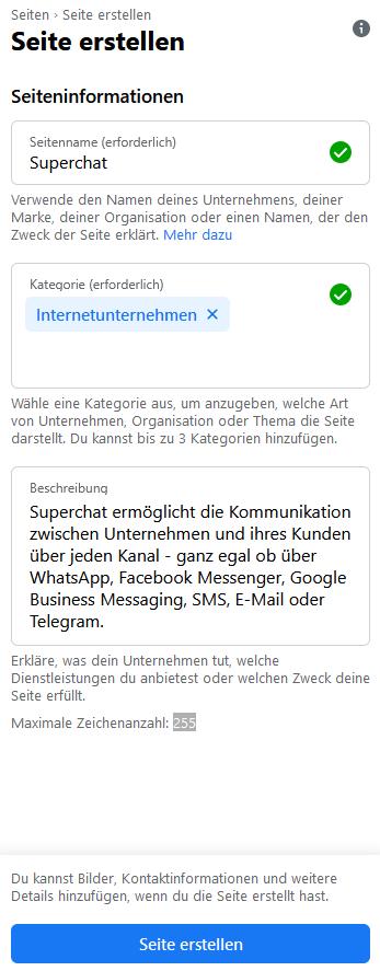 Facebook Unternehmensseite erstellen - Details eingeben