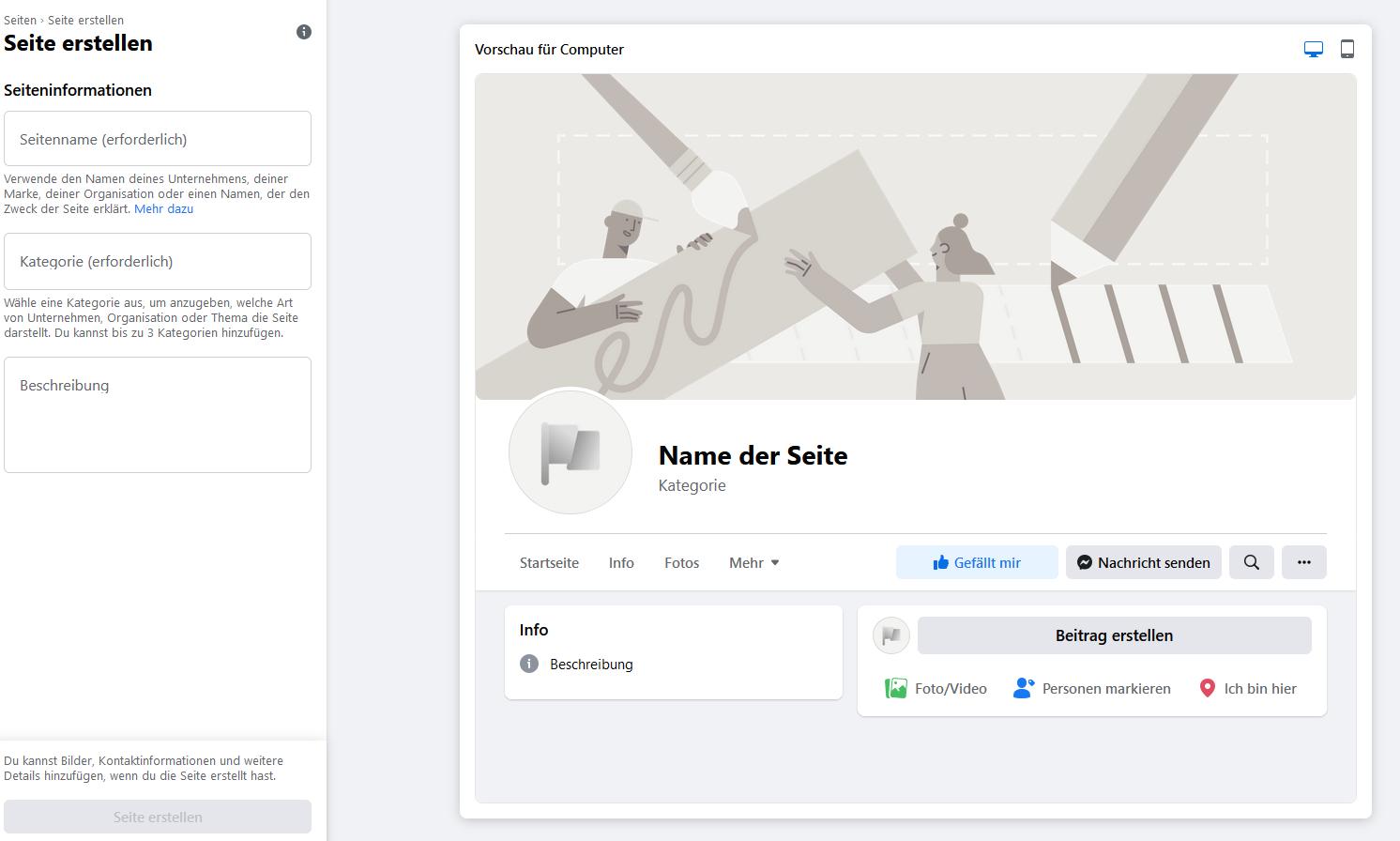 Facebook Unternehmensseite erstellen - Seite erstellen