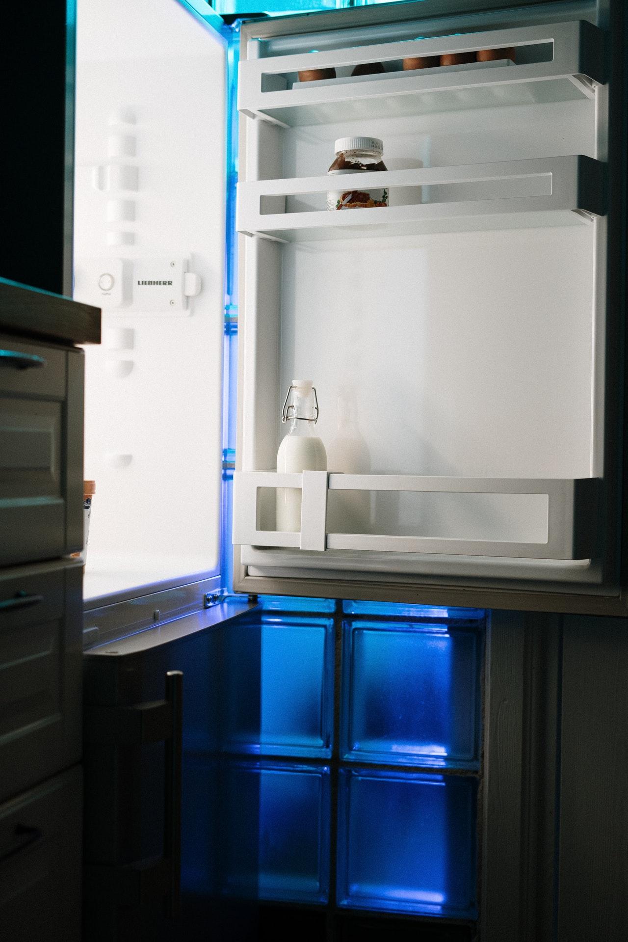 an opened refrigerator.