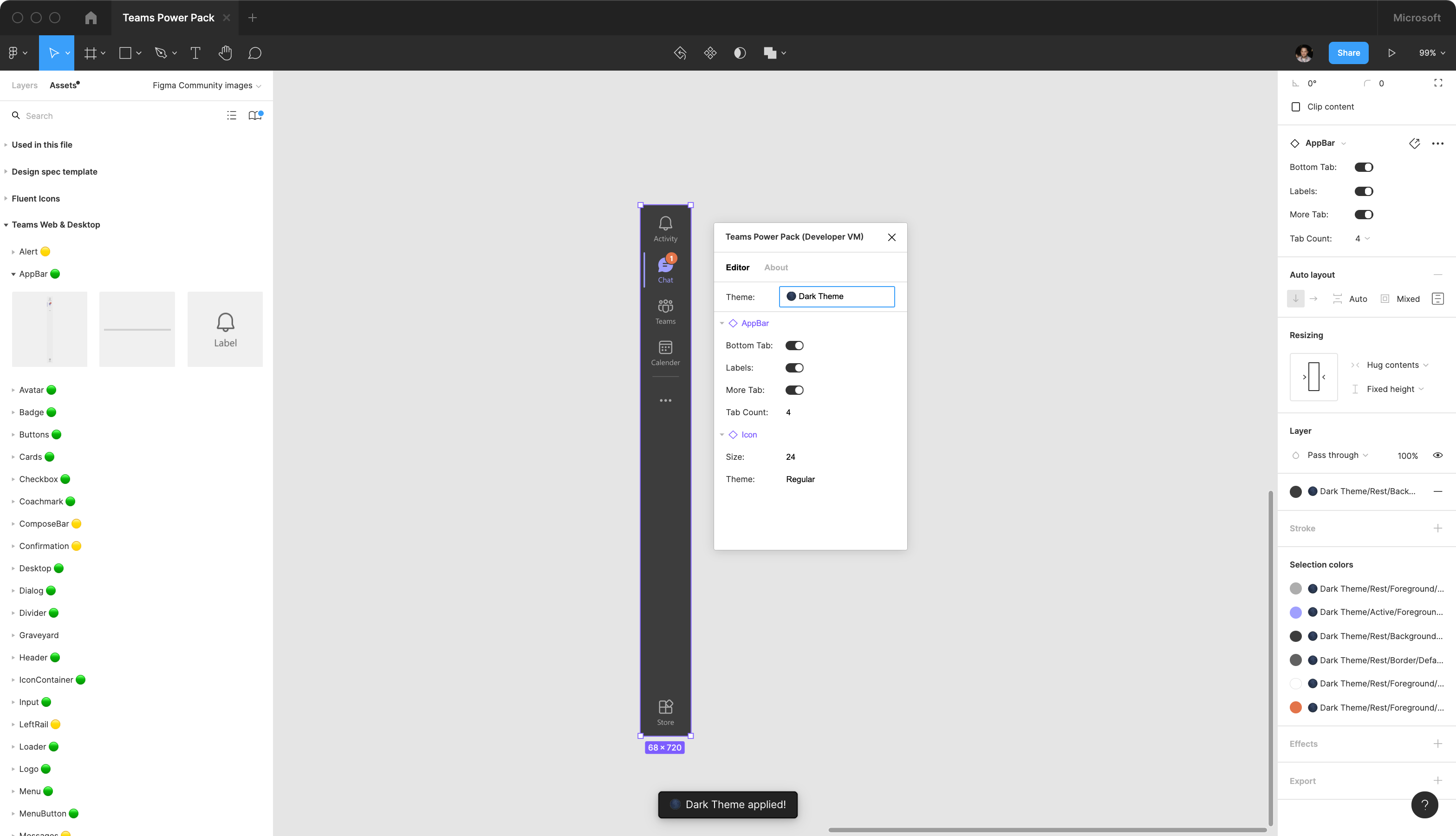 A screenshot of theming the AppBar component in Figma
