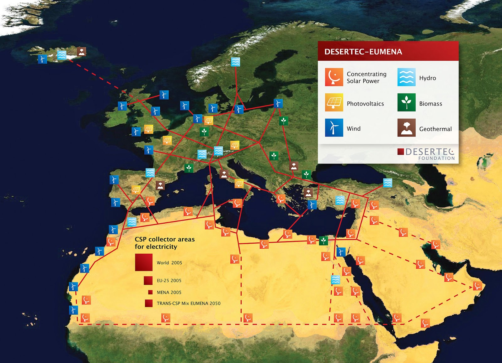 Karte von Europa, die zeigt welche Region welchen grünen Strom erzeugen kann, sowie wie das Netzwerk aussehen könnte.