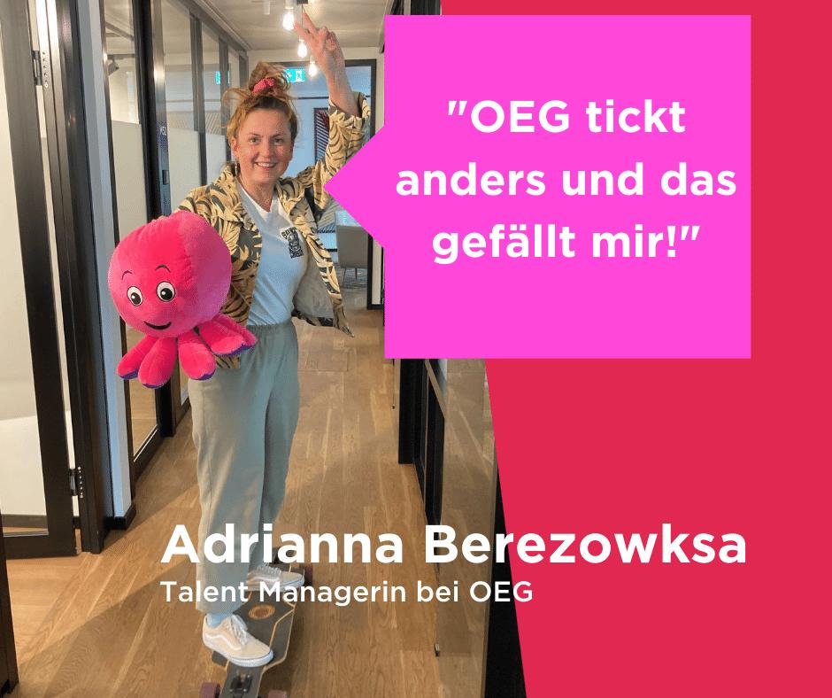 """Adrianna meint: """"OEG tickt anders! Während sie auf dem Longboard durchs Office fährt."""