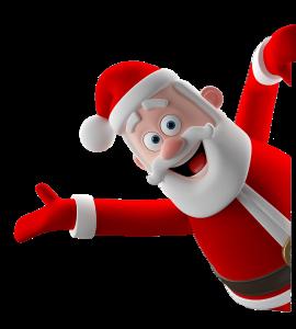Le Père Noël vous souhaite la bienvenue sur la landing page de l'application Carrefour Jouets AR en vous faisant un signe de la main !