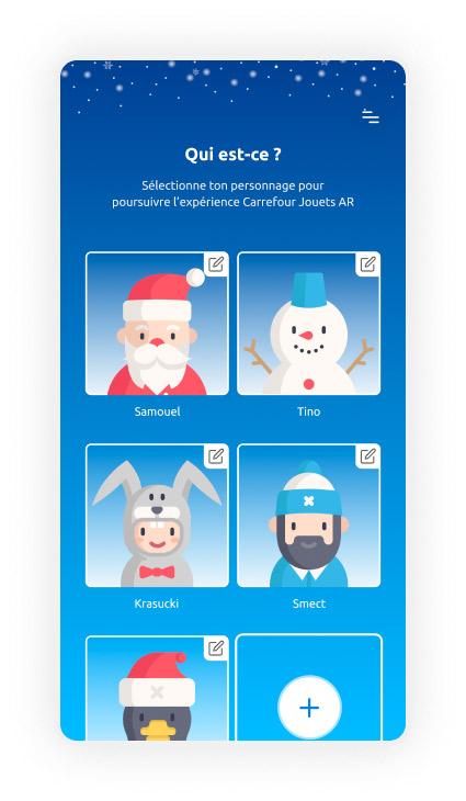 Écran de sélection d'un utilisateur de l'application Carrefour Jouets AR.