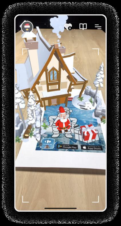 Coloriage Carrefour donnant vie au Père Noël et à sa maison en réalité augmentée !