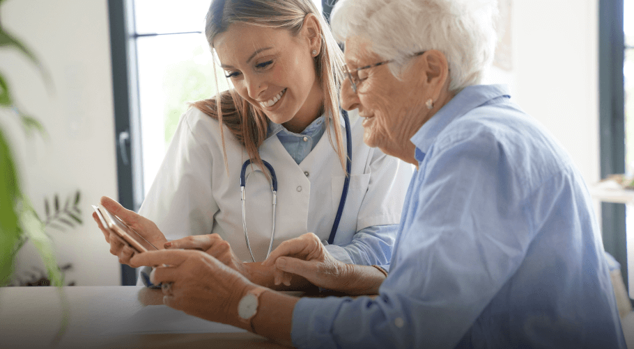 nurse with patient showing the business idea behind alley