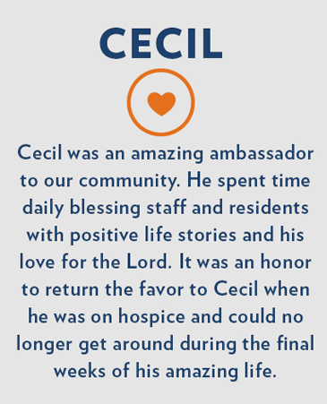 Cecil, Autumn View Gardens Hospice Care, Ellisville