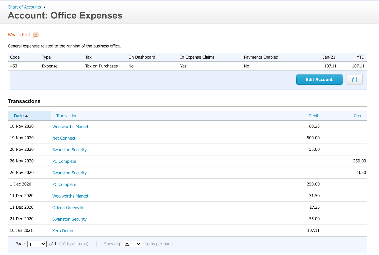 Xero account office expenses