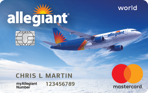 image of an Allegiant branded Mastercard credit card