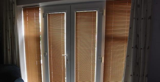 Venetian wooden door blinds.