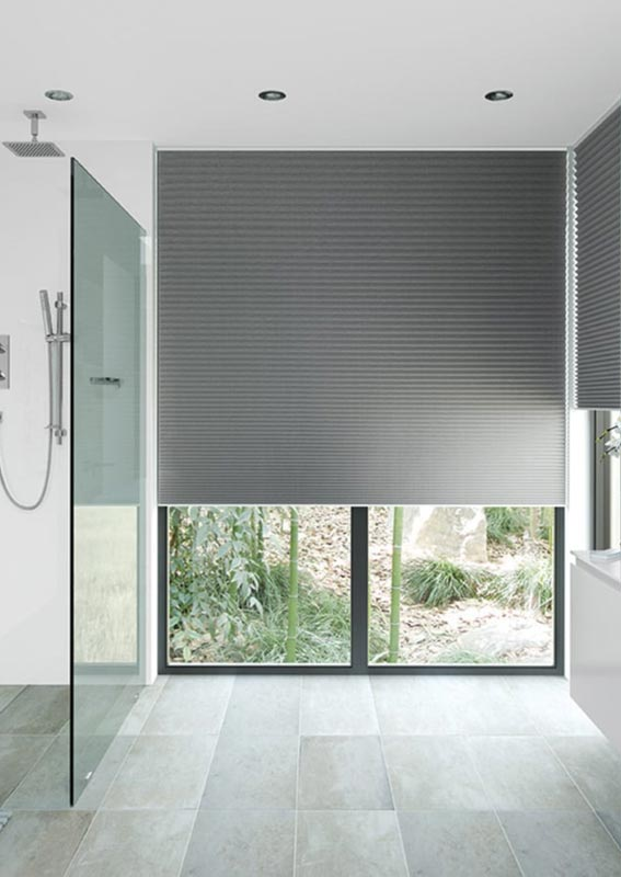 Pleated blinds in kitchen.