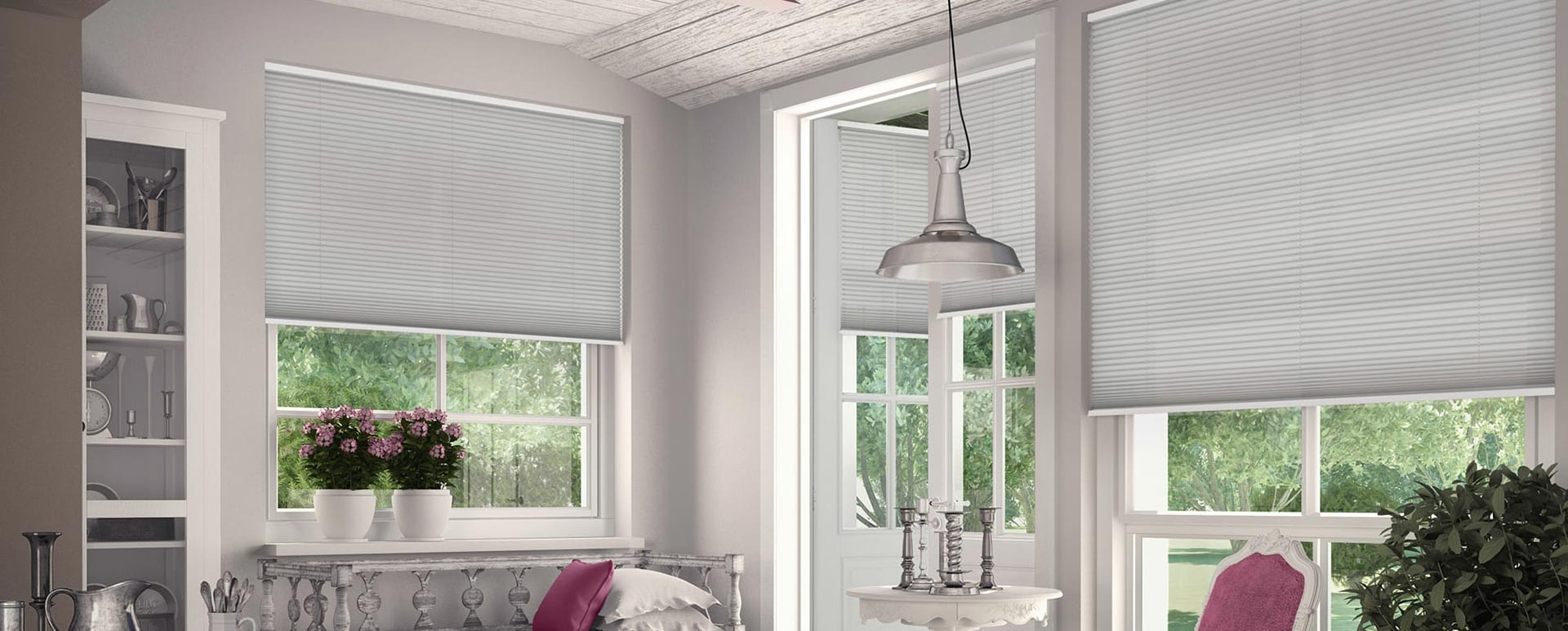 Pleated blinds in living room.