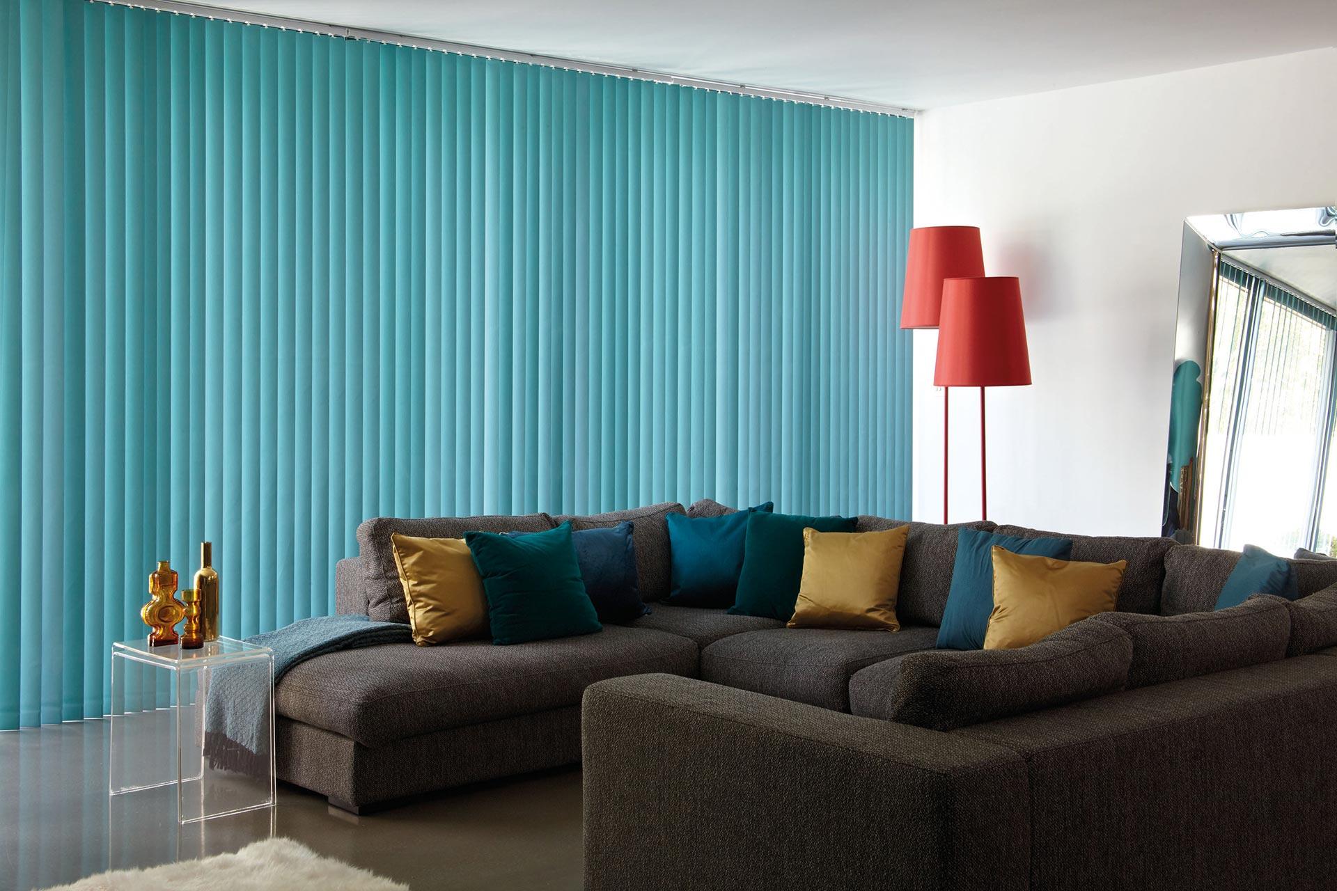 Blue vertical blinds.