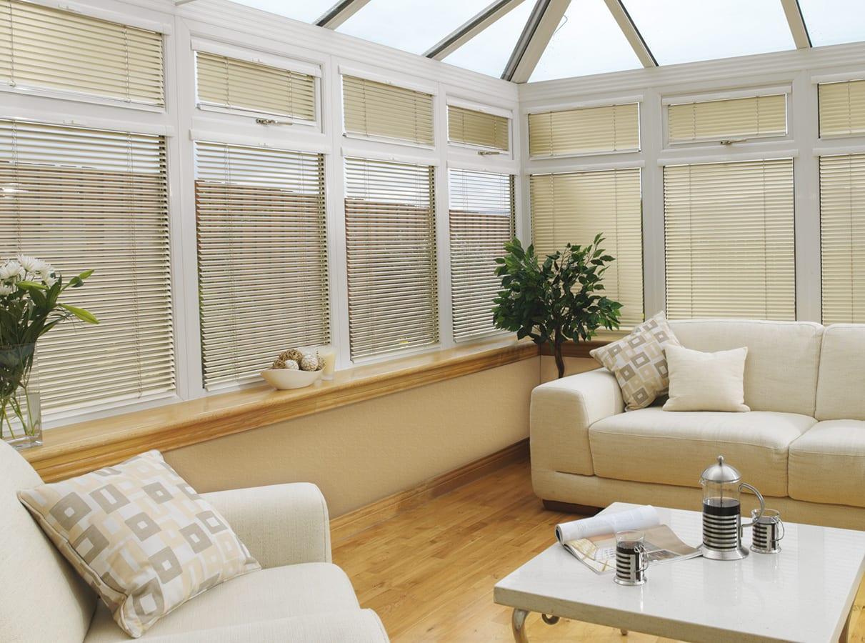 Venetain blinds in living room.
