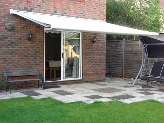 Awning over patio.
