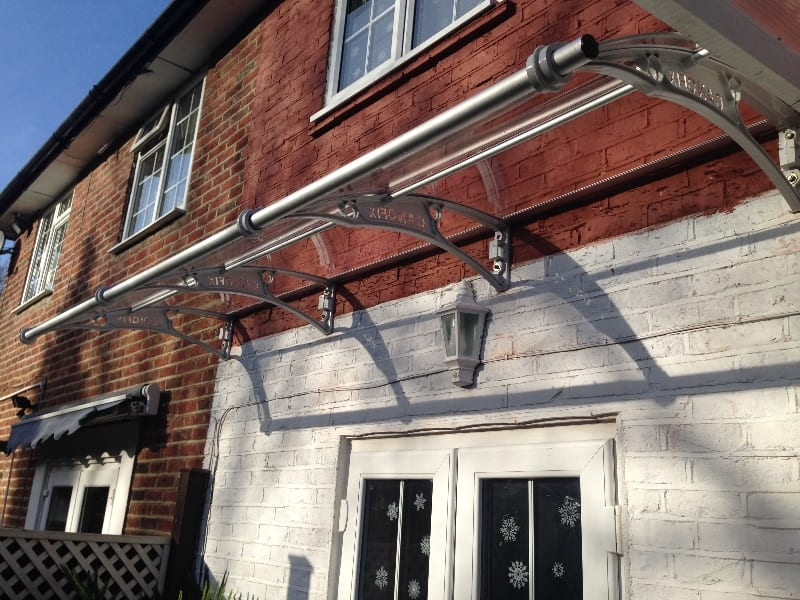 Canopy frame on external wall.