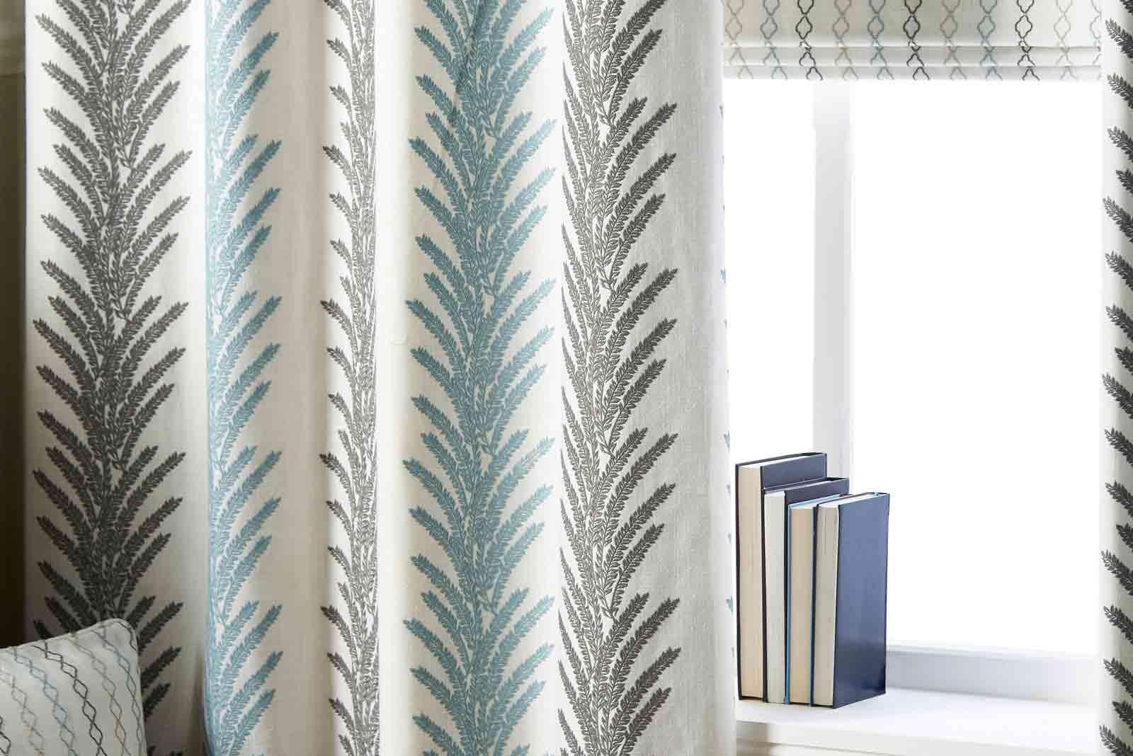 Curtains in living room space.