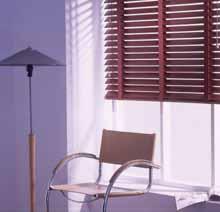 Wood venetian blinds.
