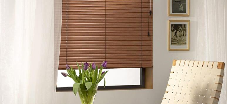 Wooden Venetian blinds.