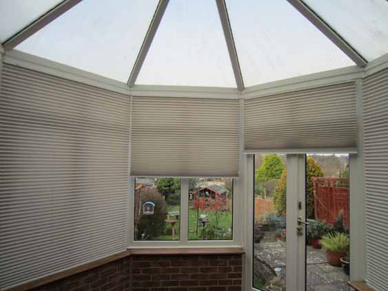 Free hanging conservatory blinds.