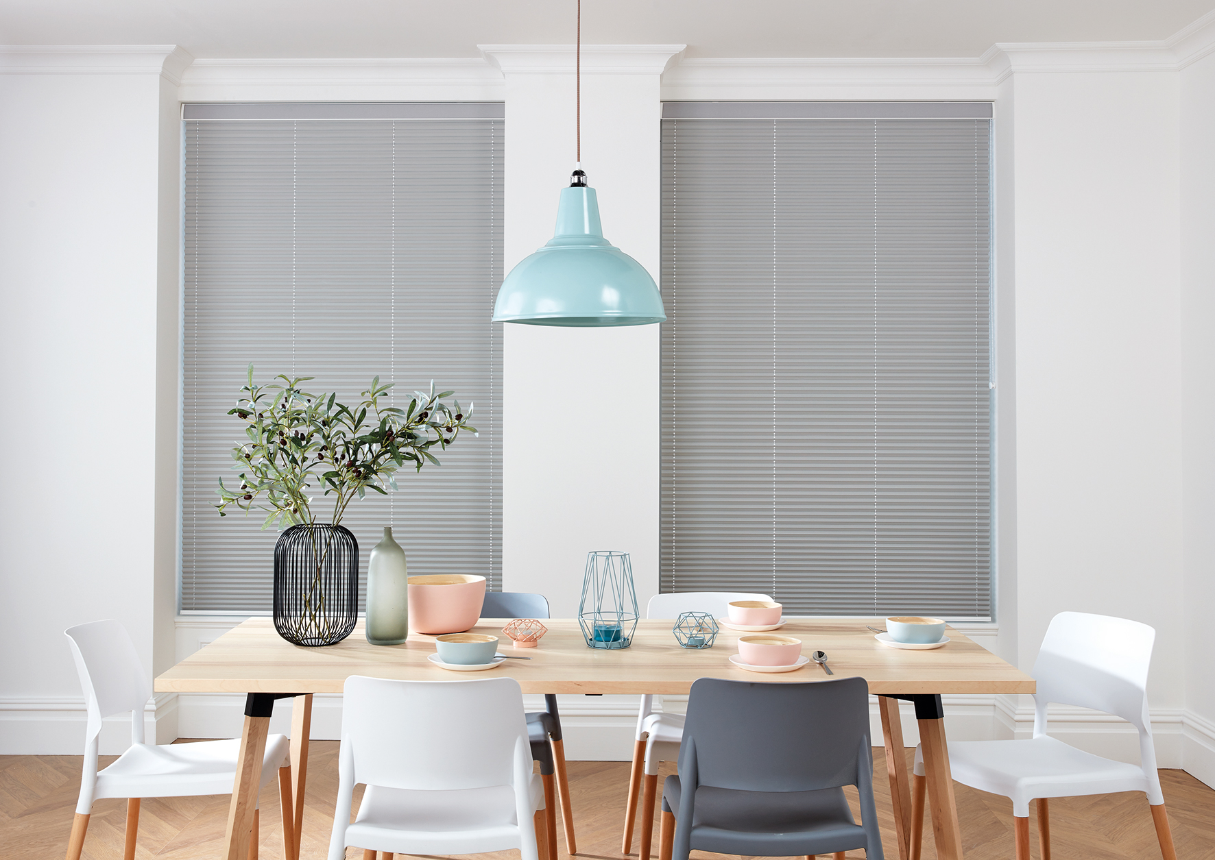 Pleated blinds closed.