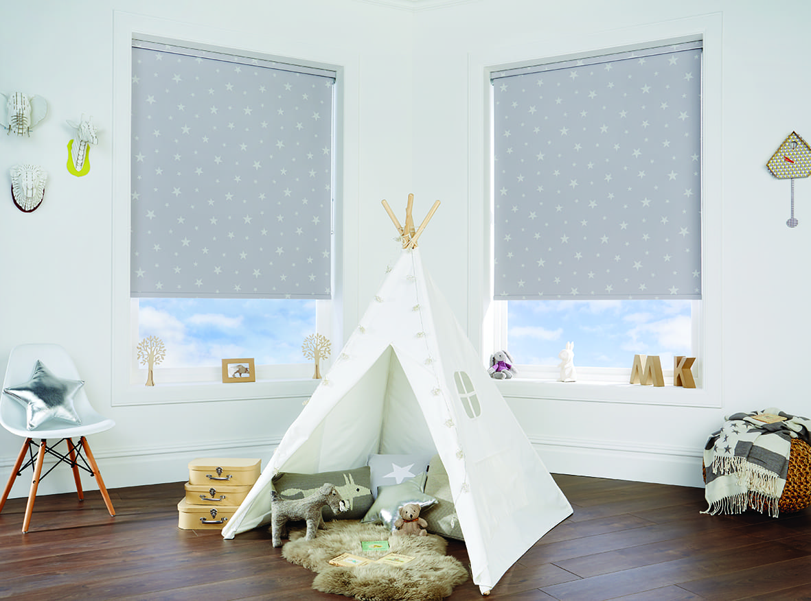Tipi in a room with Roller blinds.