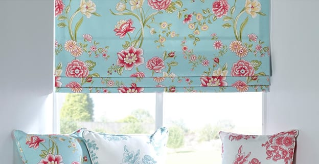 Floral pattern on roman blinds.