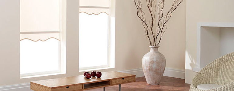 Roller blinds with shape.