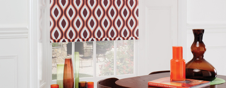 Roller blinds with retro pattern.